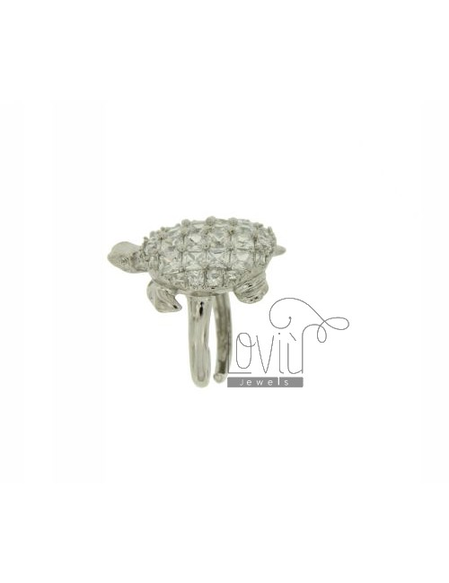 RING IN TURTLE RHODIUM AG TIT 925 ‰ AND ZIRCONIA SIZE ADJUSTABLE