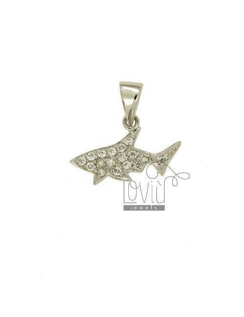 PENDANT SHARK 14x22 MM IN AG TIT 925 ‰ AND ZIRCONIA