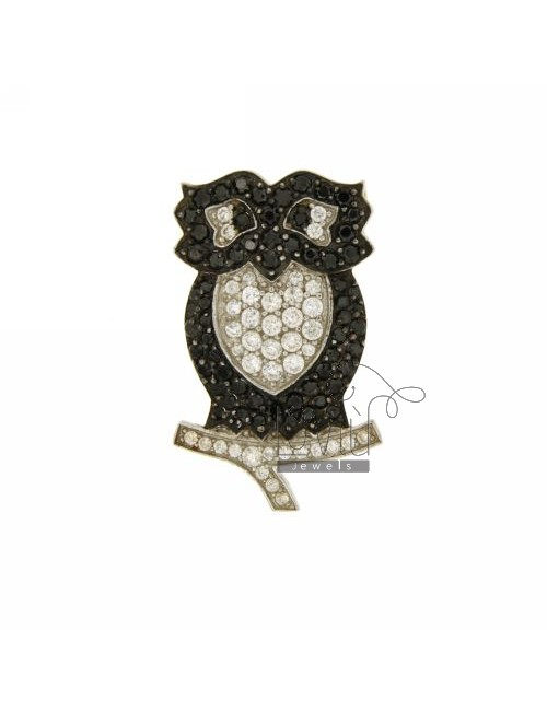 PENDANT AND BROOCH CIVETTA 31X19 MM IN AG TIT 925 ‰ AND ZIRCONIA