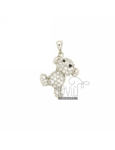 BEAR PENDANT 20x14 MM IN AG TIT 925 ‰ AND ZIRCONIA