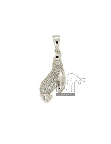 PENDANT FOCA 27X11 MM IN AG TIT 925 ‰ AND ZIRCONIA