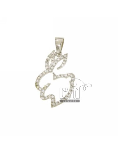 PENDANT RABBIT MM 24x17 IN AG TIT 925 ‰ AND ZIRCONIA
