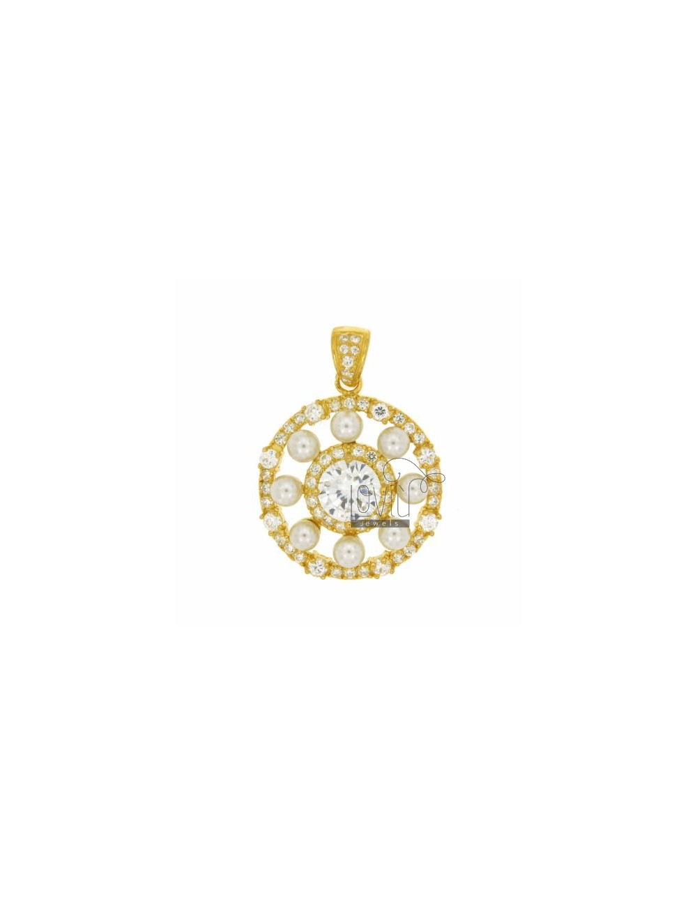 24 MM ROUND PENDANT WITH SWAROVSKI AND BEADS IN GOLD PLATED AG TIT 925 ‰