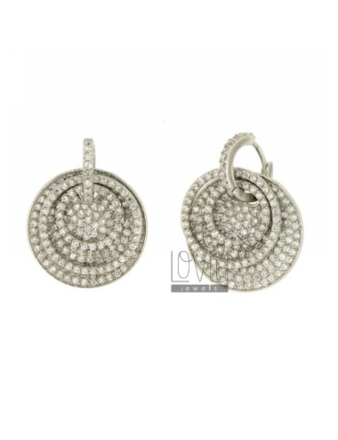 HOOP EARRINGS WITH ROUND PENDANT WITH PAVE &39ZIRCONS OF 26 MM IN AG TIT RODIATO 925 ‰