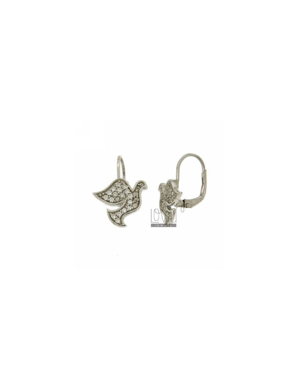 DOVE EARRINGS WITH PAVE nun &39OF ZIRCONIA IN RHODIUM AG TIT 925 ‰