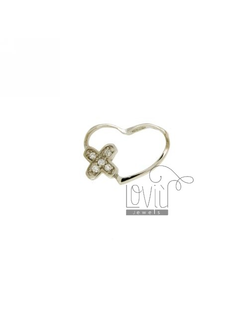 PENDANT HEART THROUGH 13X18 MM IN AG TIT 925 ‰ AND ZIRCONIA