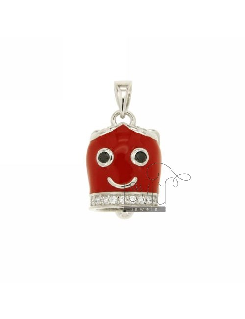 20x14 MM BELL PENDANT ANGEL WITH RED ENAMEL AND COATINGS WITH ZIRCONIA WHITE AND BLACKS IN RHODIUM AG TIT 925 ‰