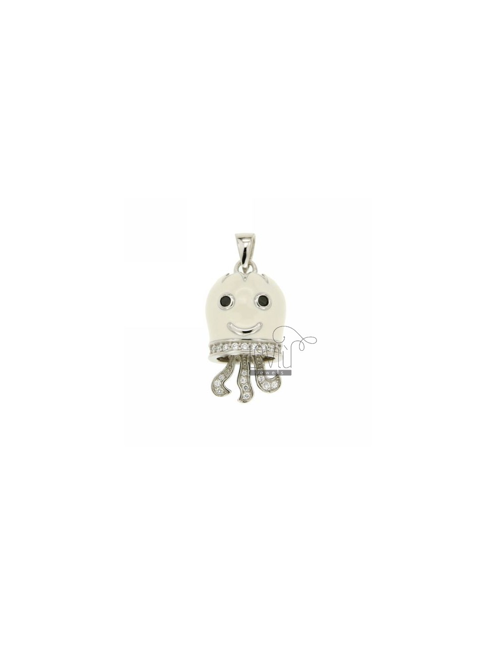 OCTOPUS PENDANT BELL 27X15 MM WHITE GLAZED WITH INSERTS WITH ZIRCONIA WHITE AND BLACKS IN RHODIUM AG TIT 925