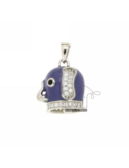 18X17 MM BELL PENDANT WITH ELEPHANT ENAMEL PURPLE AND COATINGS WITH ZIRCONIA WHITE AND BLACKS IN RHODIUM AG TIT 925 ‰
