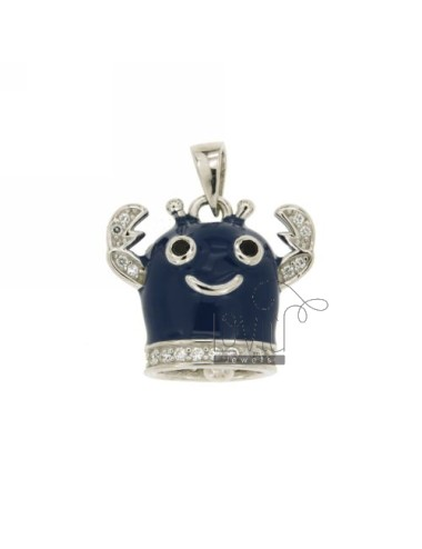 20x22 MM BELL PENDANT CRAB WITH BLUE ENAMEL AND COATINGS WITH ZIRCONIA WHITE AND BLACKS IN RHODIUM AG TIT 925 ‰