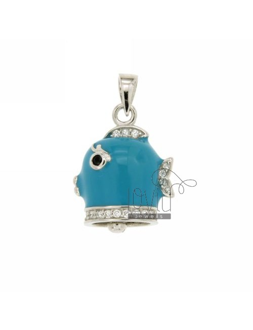 22x18 MM BELL PENDANT FISH WITH ENAMEL TURQUOISE AND COATINGS WITH ZIRCONIA WHITE AND BLACKS IN RHODIUM AG TIT 925 ‰