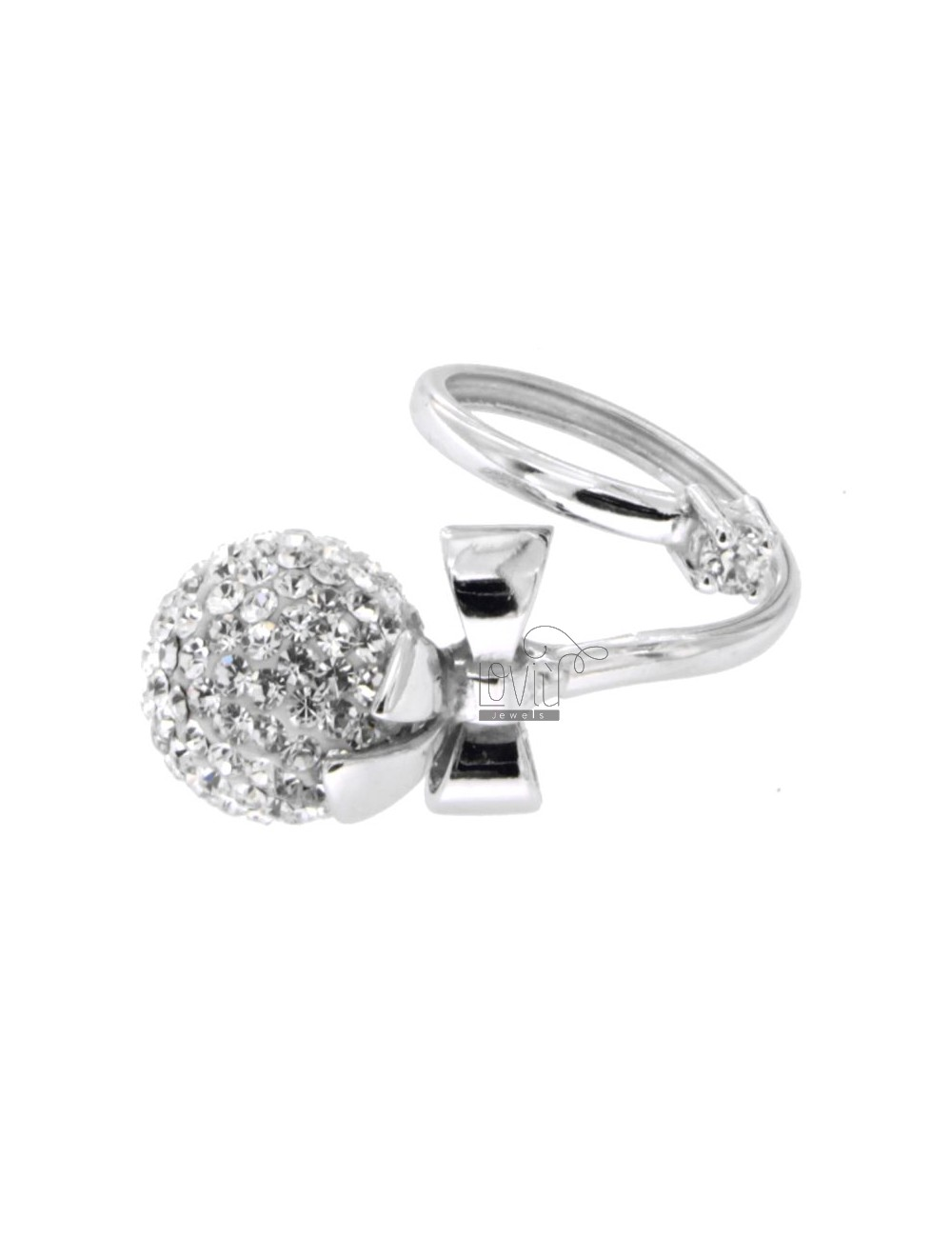 BOW RING WITH CRYSTAL BALL RESIN AND 12 MM IN RHODIUM AG TIT 925 ‰ SIZE ADJUSTABLE