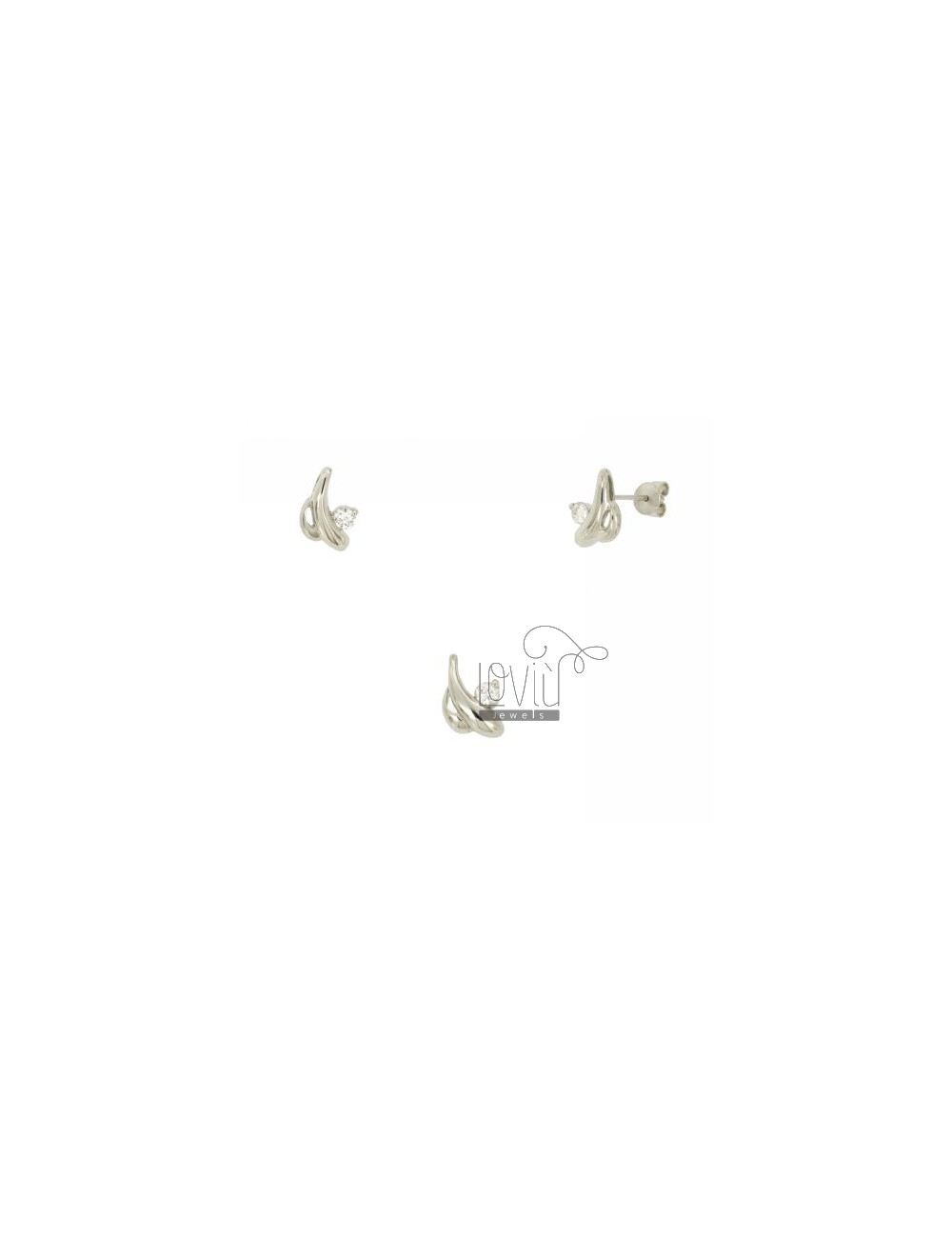 Earrings and Pendant DROPS STYLIZED SILVER TIT 925 ‰ AND ZIRCONIA