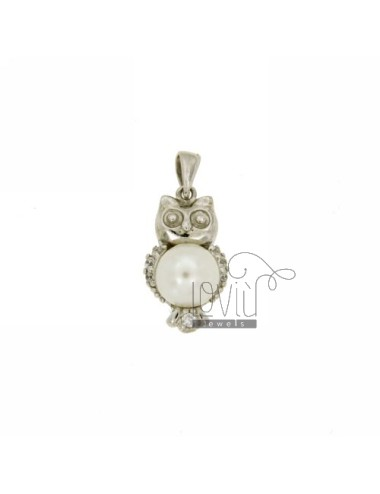 OWL PENDANT IN TIT AG 92.5 ‰ 8 MM PEARL AND ZIRCONIA