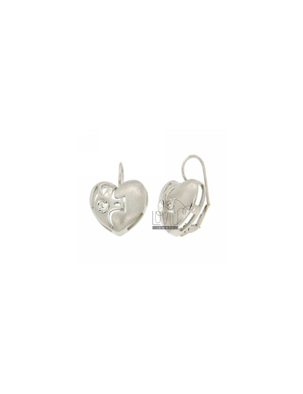 A nun HEART EARRINGS WITH RHINESTONES IN SATIN AND SHINY RHODIUM AG TIT 925 ‰