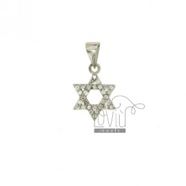 STAR OF DAVID PENDANT 16x14 MM IN AG TIT 925 ‰ AND ZIRCONIA