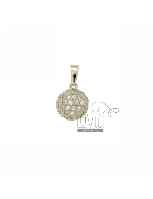 PENDANT BALL 10 MM IN AG TIT 925 ‰ AND ZIRCONIA