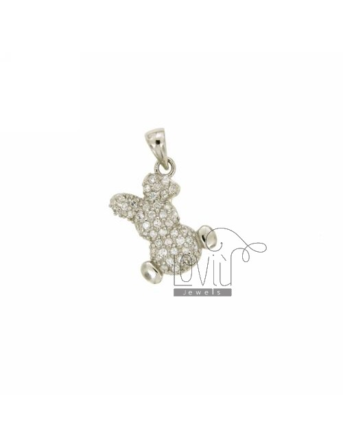 PENDANT BUNNY 16X12 MM IN AG TIT 925 ‰ AND ZIRCONIA