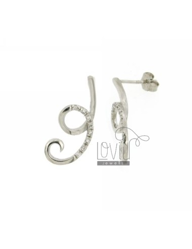 ZIRCONIA EARRINGS WITH A CURL IN RHODIUM AG TIT 925 ‰