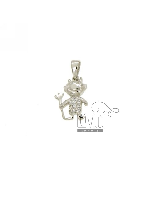 PENDANT DEVIL MM 16x11 IN AG TIT 925 ‰ AND ZIRCONIA