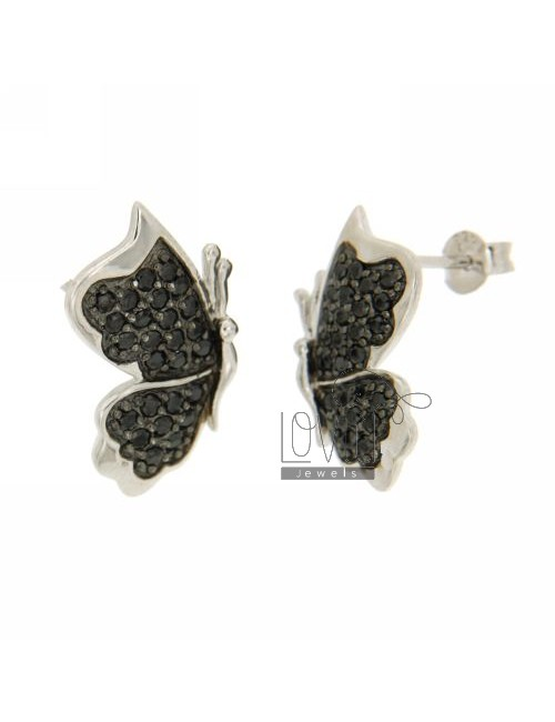 LOBO WITH BUTTERFLY EARRINGS PAVE &39ZIRCONS OF BLACKS IN RHODIUM AG TIT 925 ‰