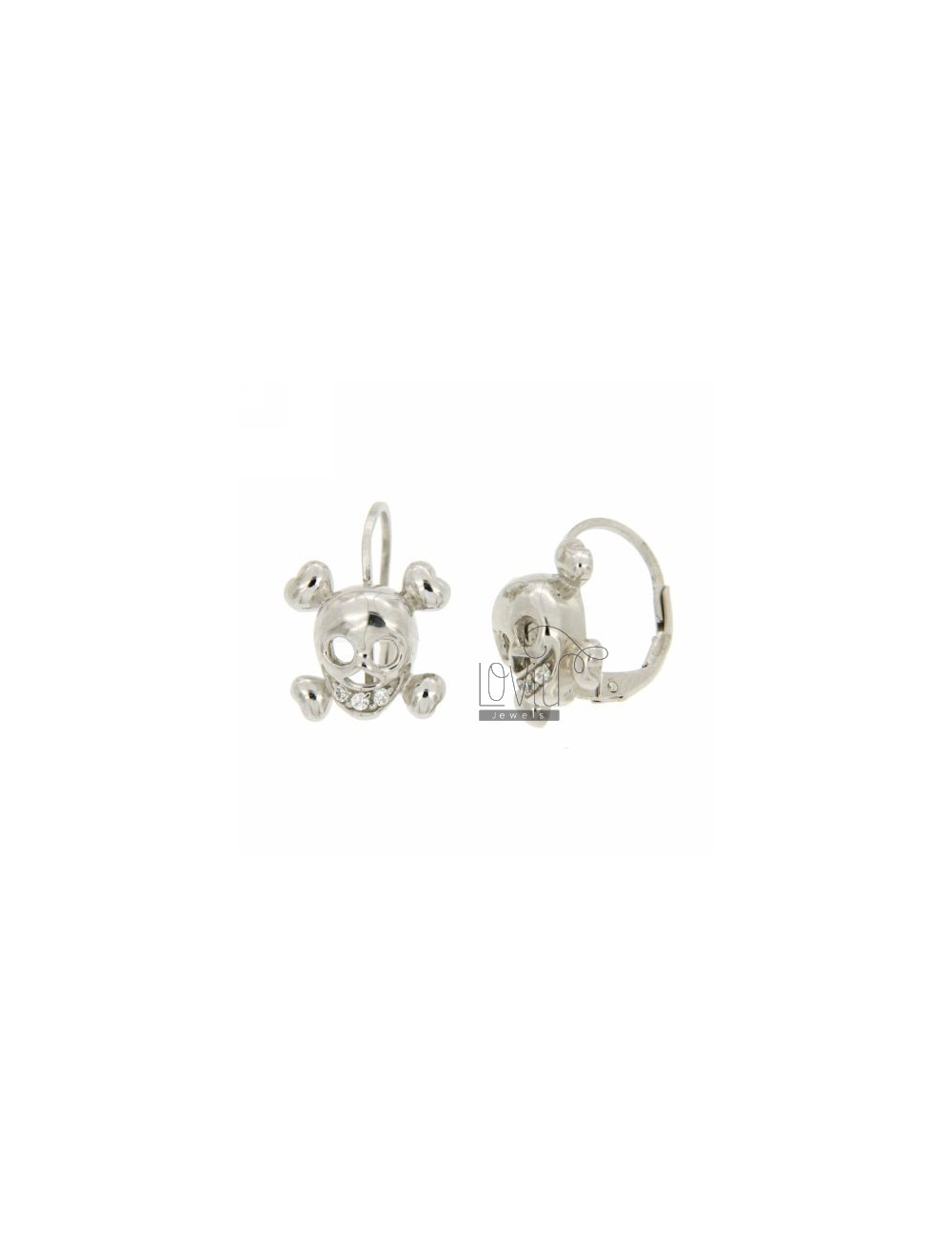 EARRINGS SKULL IN A nun AG RHODIUM 925 ‰ TIT AND ZIRCONIA