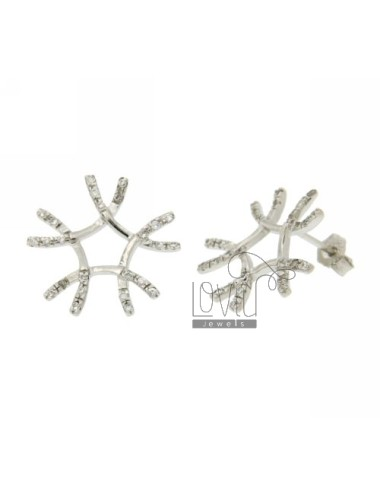 FANTASY IN STRAW WITH ZIRCONIA EARRINGS RHODIUM AG TIT 925