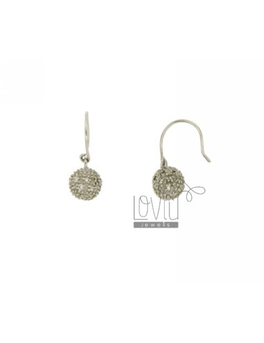 EARRINGS BALL 8 MM WITH PAVE &39OF ZIRCONIA IN AG TIT RODIATO 925 ‰