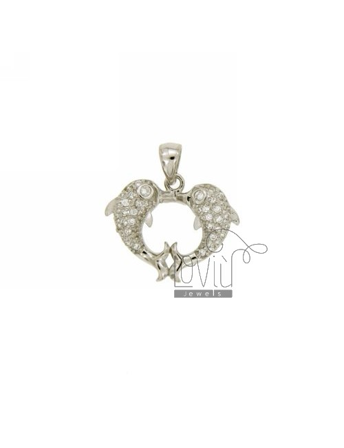 DOLPHIN PENDANT HEART 15x18 MM IN AG TIT 925 ‰ AND ZIRCONIA