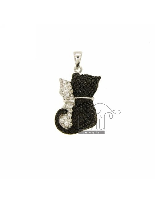 PENDANT KITTENS 22x15 MM IN AG TIT 925 ‰ AND ZIRCONIA