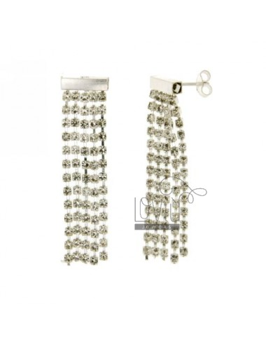 5.WIRE EARRINGS CRYSTAL WHITE CHAIN &8203&82032 MM IN TIT AG 925