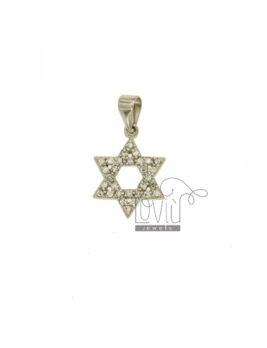 STAR OF DAVID PENDANT 18x14 MM IN AG TIT 925 ‰ AND ZIRCONIA