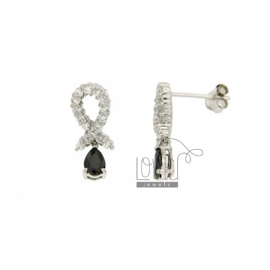 DROP EARRINGS WITH CUBIC ZIRCONIA WHITE AND BLACKS IN RHODIUM AG TIT 925