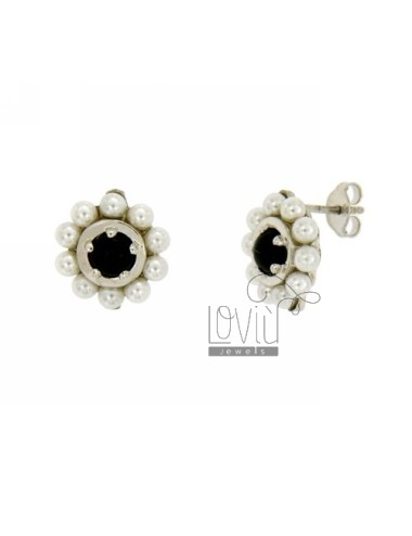 EARRINGS FLOWER AND BEADS SILVER WITH ZIRCON TIT 925 ‰