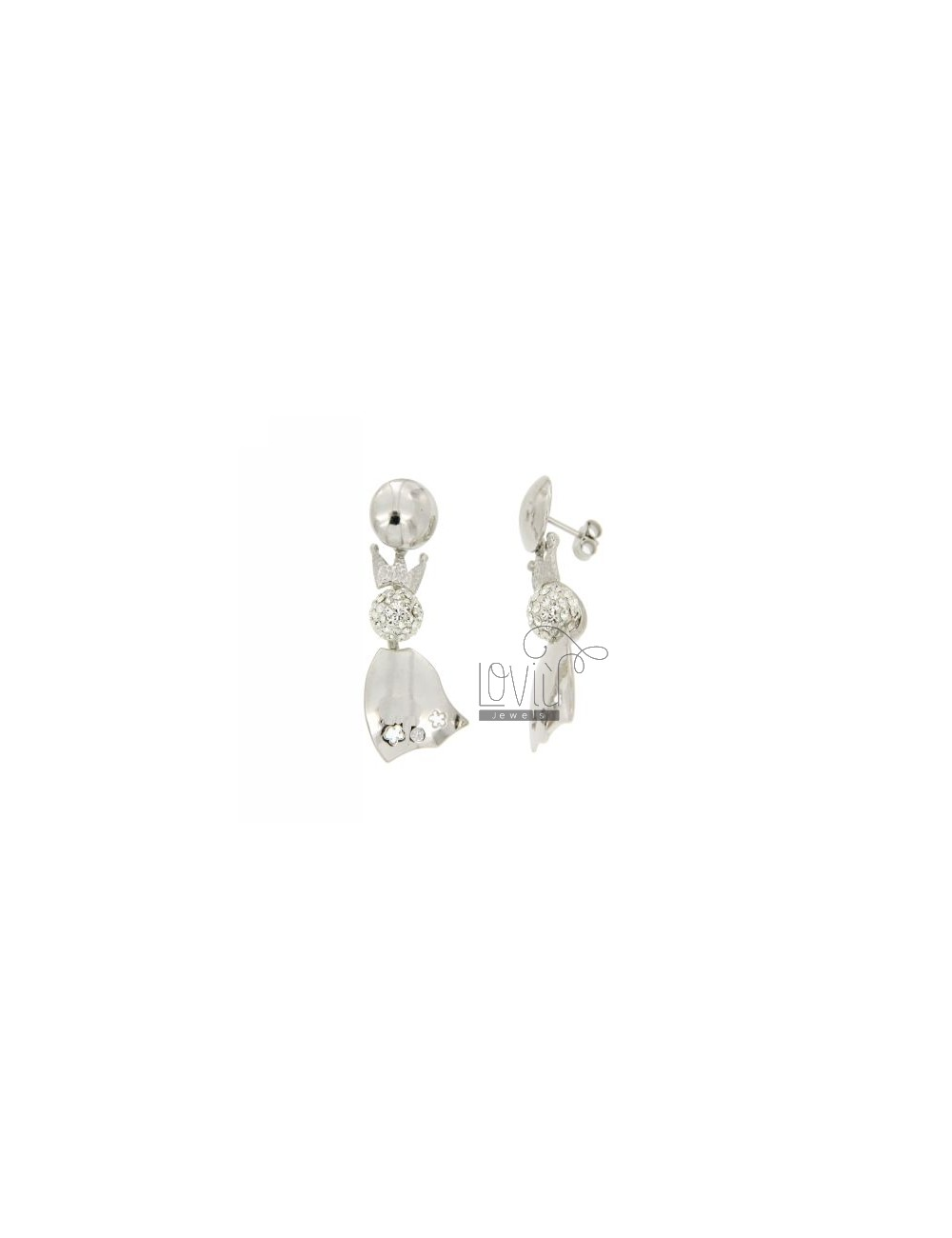 QUEEN WITH BALL EARRINGS 8 MM RESIN AND RHINESTONES IN RHODIUM AG TIT 925 ‰ ZK